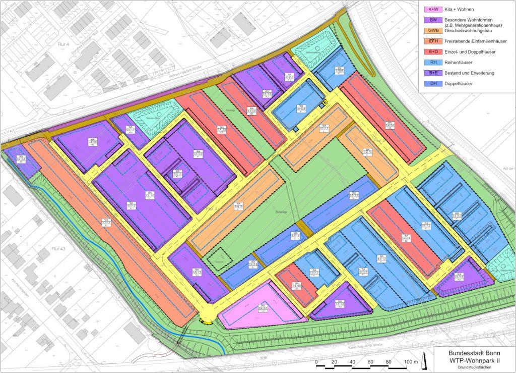 Bundesstadt Bonn, WTP-Wohnpark II, Grundstücksflächen